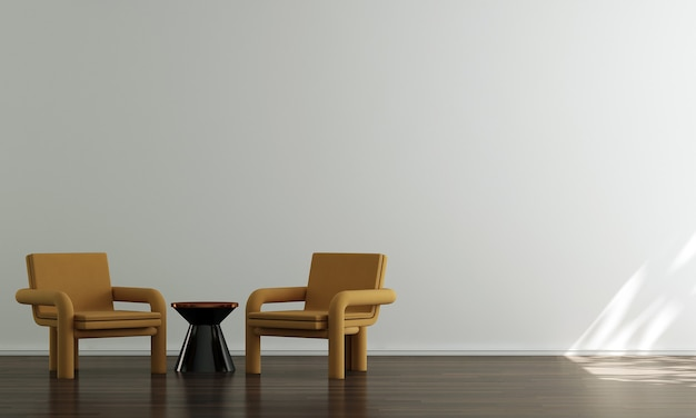 Casa e decoração e móveis de design de interiores minimalista de sala de estar e fundo de parede branco