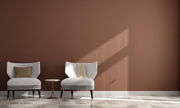 Casa e decoração minimalistas, design de interiores de sala de estar e fundo de parede vazio