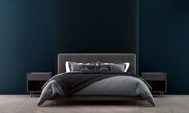 Casa e decoração moderna e aconchegante, design de interiores de quarto e fundo de parede azul vazio