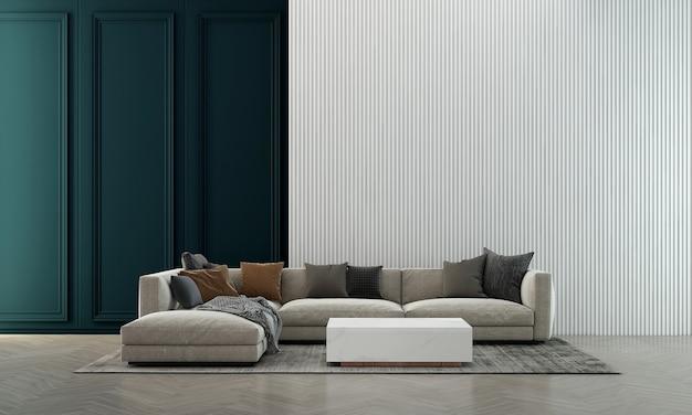 Casa e decoração moderna e aconchegante, design de interiores de sala de estar e fundo de parede azul vazio