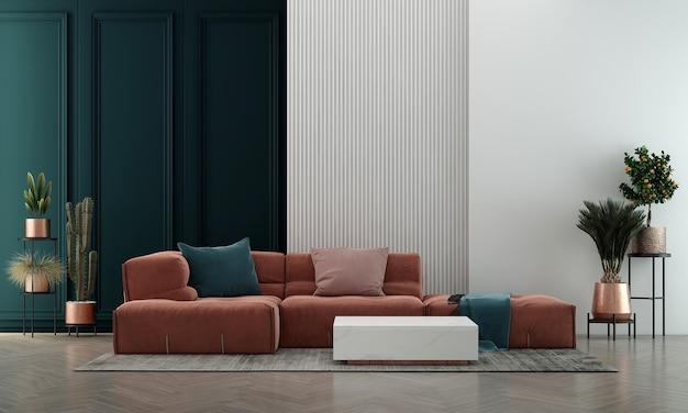 Casa e decoração modernas e design de interiores de sala de estar e fundo de parede azul vazio