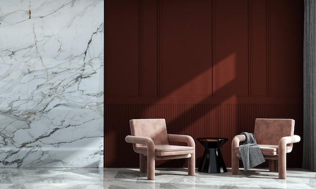 Casa e decoração modernas e design de interiores de sala de estar e fundo de parede vermelho e mármore vazio