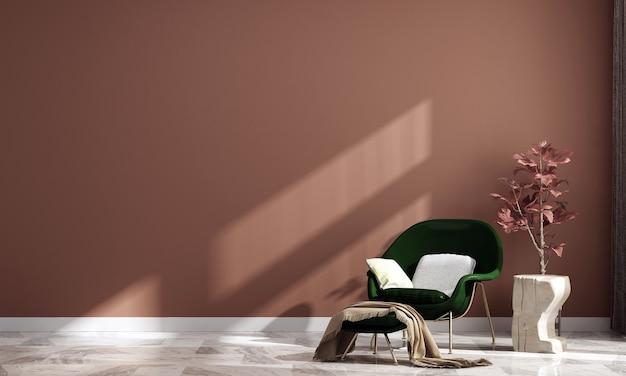 Casa e decoração modernas, interior da sala de estar e fundo vazio na parede em tons pastel