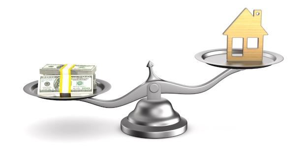Casa e dinheiro em escalas.