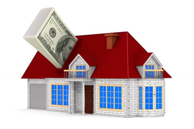 Casa e dinheiro na superfície branca. ilustração 3d isolada.