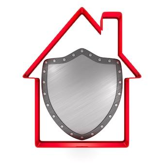 Casa e escudo no espaço em branco.