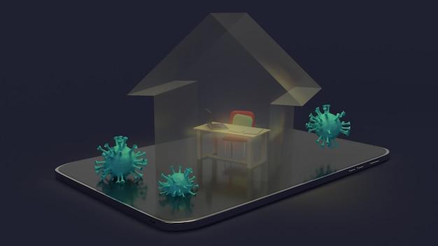 Casa e estação de trabalho na rendição da tabuleta 3d para o trabalho do conteúdo doméstico.