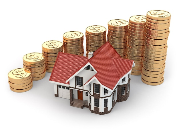 Casa e gráfico de moedas. aumento imobiliário. 3d