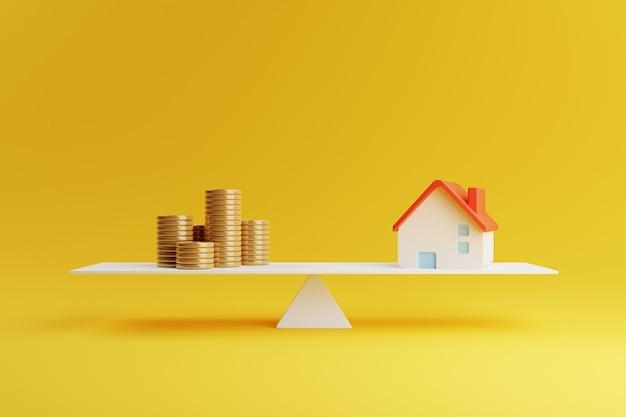 Casa e moeda em escala de equilíbrio em amarelo. investimento de hipotecas de negócios imobiliários e conceito de empréstimo financeiro. economia de dinheiro e tema de fluxo de caixa. renderização 3d