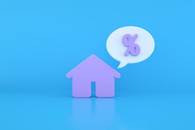 Casa e porcentagem sobre fundo azul, renderização 3d