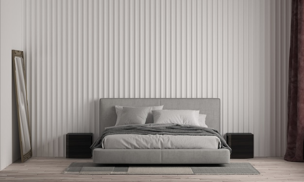 Casa e quarto modernos e simulação de design de interiores de móveis e fundo de textura de parede branca