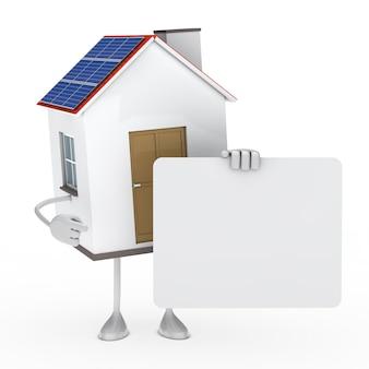 Casa ecológica prende um quadro indicador em branco