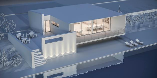 Casa em estilo minimalista. showroom. renderização 3d.