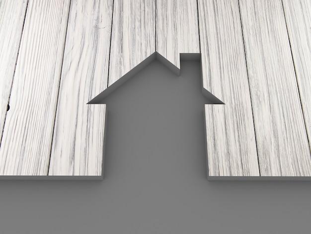 Casa em madeira abstrata