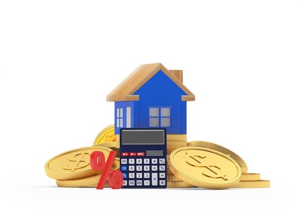 Casa em moedas de dólar com calculadora e sinal de porcentagem