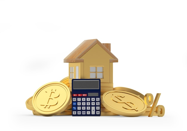 Casa em moedas de dólar e bitcoin com calculadora 3d