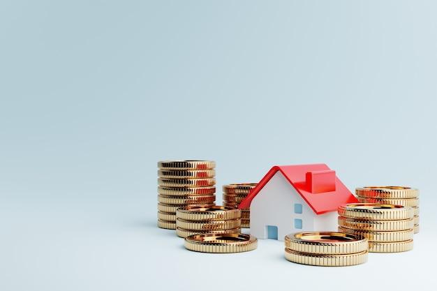 Casa imobiliária e moedas de ouro em azul. investimento de hipoteca empresarial e conceito de empréstimo financeiro. economia de dinheiro e tema de fluxo de caixa. renderização 3d