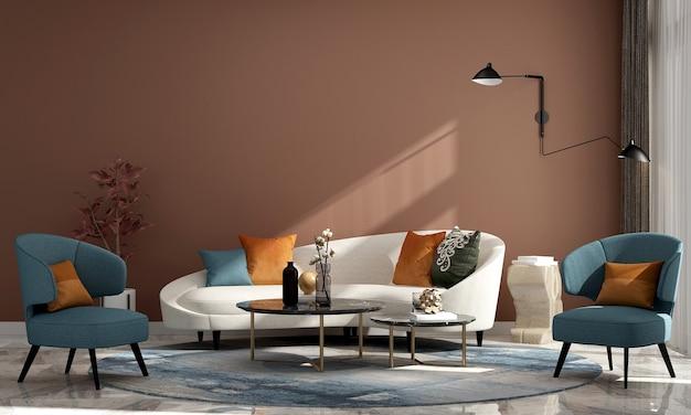 Casa luxuosa moderna e decoração e design de interiores de sala de estar e fundo de parede vazio