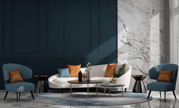 Casa luxuosa moderna e decoração e interior da sala de estar e fundo de parede vazio em azul e mármore