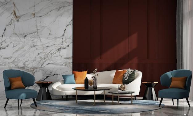 Casa luxuosa moderna e decoração e interior de sala de estar e fundo de parede vermelho e mármore vazio