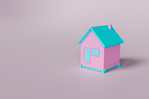 Casa mínima em fundo branco, cores 3d, renderização de ilustração 3d