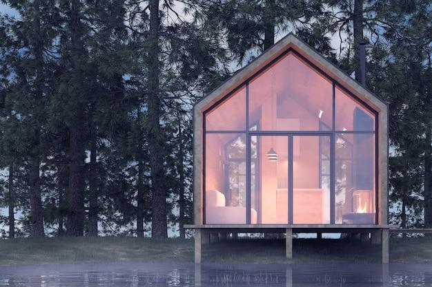 Casa minúscula isolada na margem arenosa de um lago com neblina em uma floresta de coníferas, sob iluminação fria e nublada, com luz quente das janelas. ilustração 3d de estoque