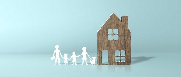 Casa modelo. conceito de aluguel, compra e venda de imóveis. serviços de corretor de imóveis, reparo e manutenção de edifícios