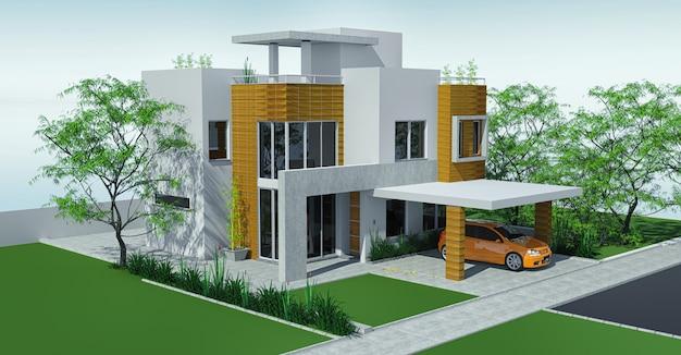 Casa moderna com gramado da garagem com mini jardim.