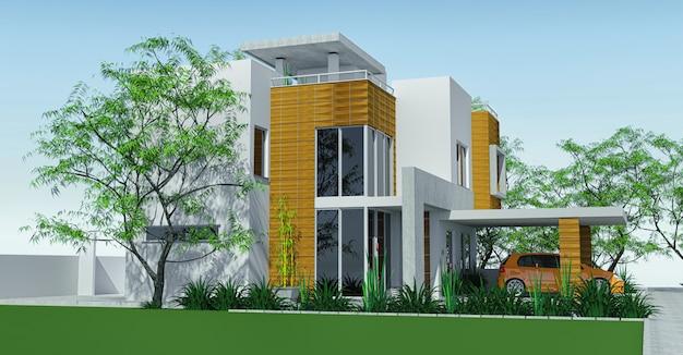Casa moderna com gramado de garagem com mini jardim.