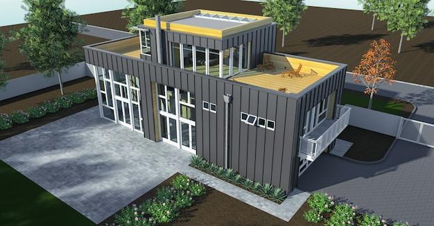 Casa moderna com jardim e garagem.