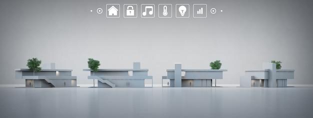 Casa moderna em cinza com ícones de aplicativos no conceito de casa inteligente.