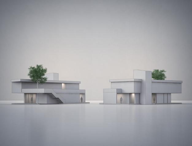 Casa moderna no assoalho branco com muro de concreto vazio na venda de imóveis ou conceito de investimento imobiliário.