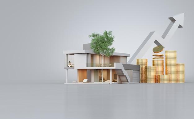 Casa moderna no assoalho concreto com espaço branco da cópia na venda dos bens imobiliários ou no conceito de investimento imobiliário.