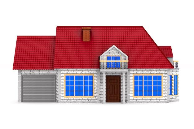 Casa na superfície branca. ilustração 3d isolada.