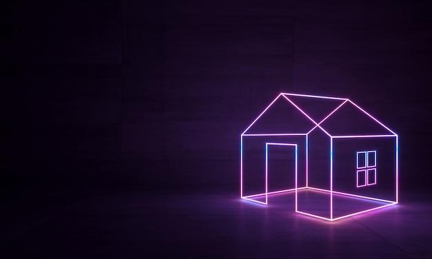 Casa neon abstrata