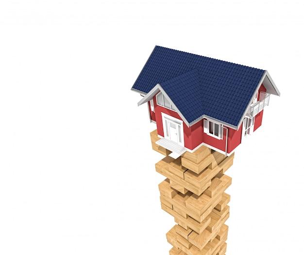 Casa no bloco de torre de madeira