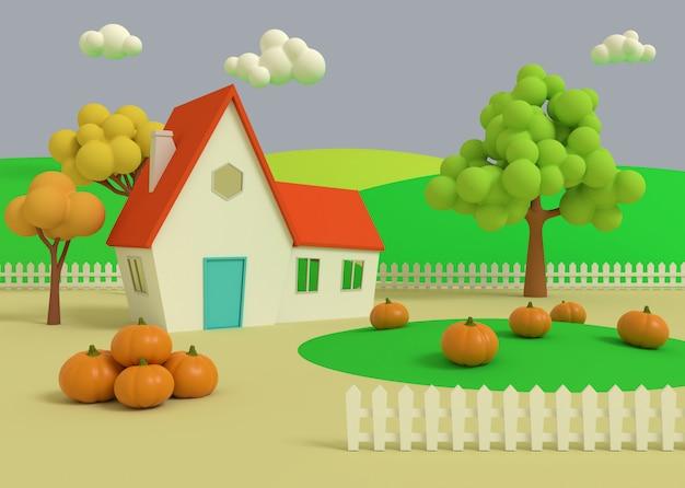 Casa no campo de abóboras no fundo dos priores do outono. renderização em 3d. paisagem rural pitoresca com colheita em estilo cartoon.
