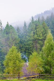 Casa no fundo de montanhas e florestas, fazenda, montanhas de aldeia, fumaça da chaminé