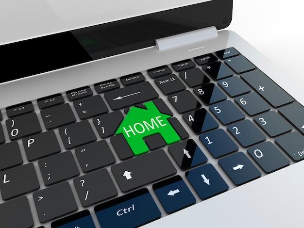 Casa no teclado do computador