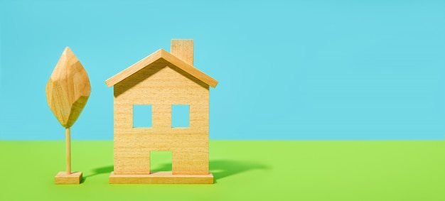 Casa ou casa fundo. banner largo com espaço de cópia