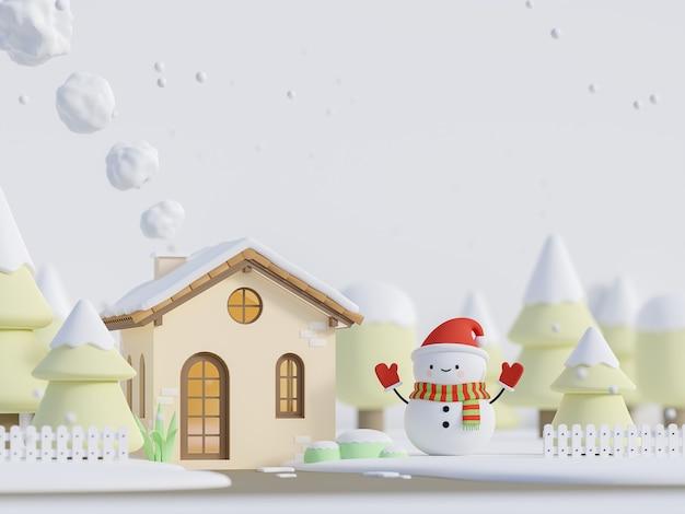 Casa pequena estilo desenho animado com conceito de natal ilustração 3d render