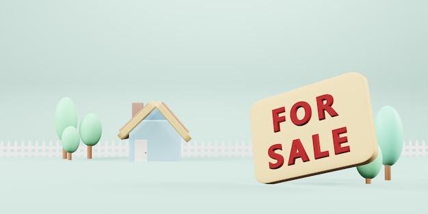 Casa pequena modelo modelo de casa em cores pastel ilustração 3d