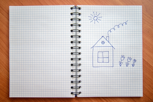 Casa pintada no bloco de notas