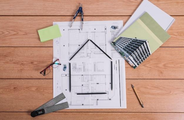 Casa, símbolo, ligado, desenhos técnicos
