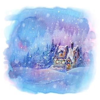 Casa solitária na madeira em um dia de inverno nevado.