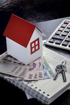 Casa unifamiliar, pilha, dinheiro