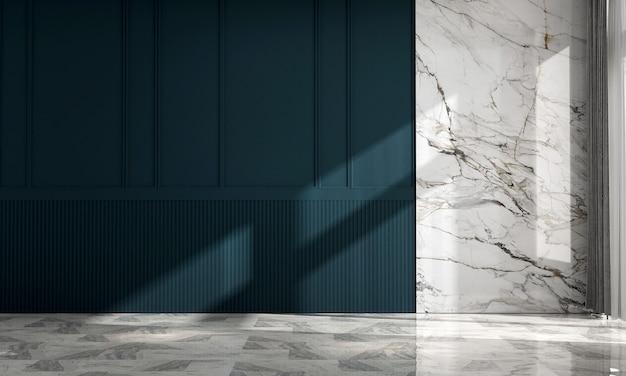 Casa vazia moderna, decoração e design de interiores de sala de estar e fundo de parede azul
