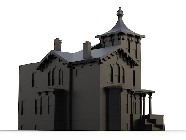 Casa velha preta em estilo vitoriano. ilustração em fundo branco. espécies de diferentes lados. renderização 3d.