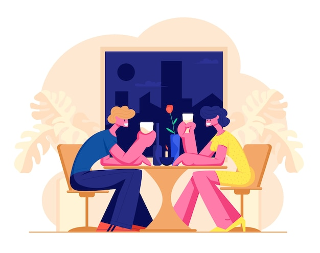 Casal amoroso feliz de personagens masculinos e femininos namorando no restaurante.