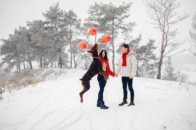 Casal apaixonado andando em um parque de inverno
